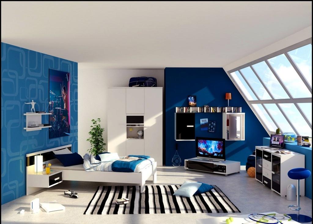 Fantastiskt mörkblått sovrum