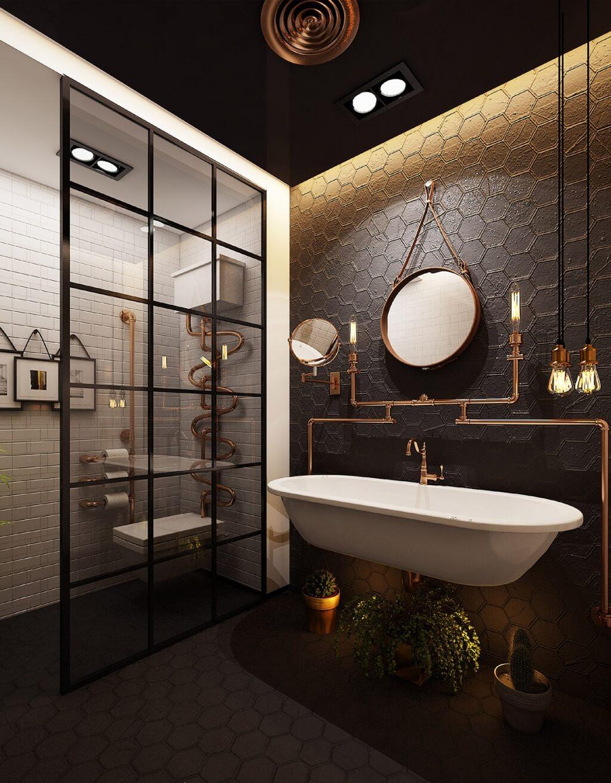 Industriellt elegant badrum