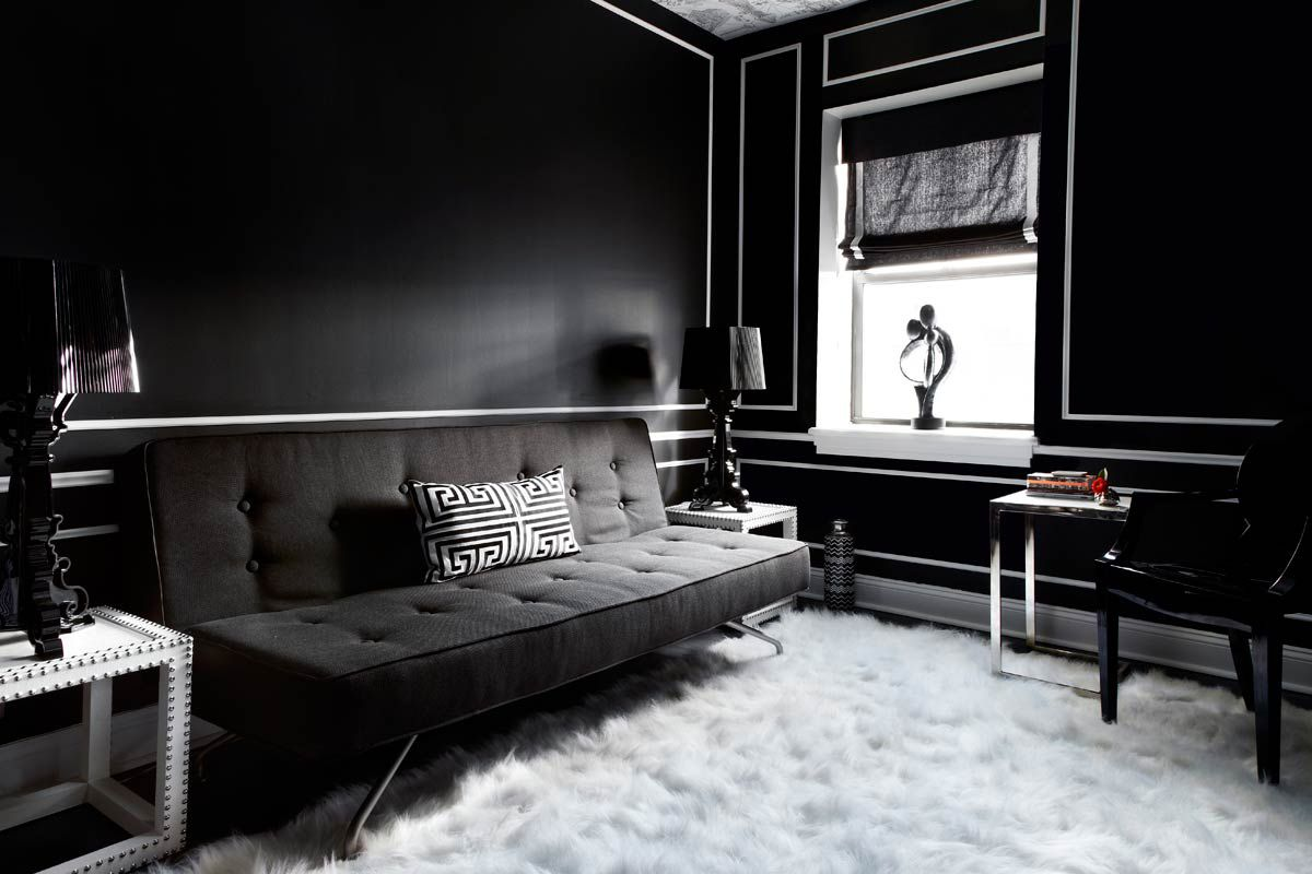 Svart soffa utan armar