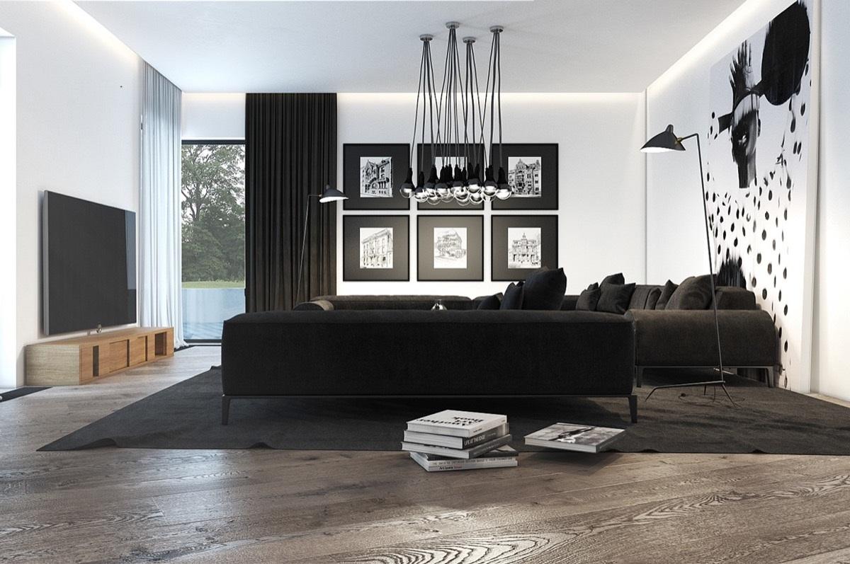 Mörkt mörkt trä i ett svart vardagsrum