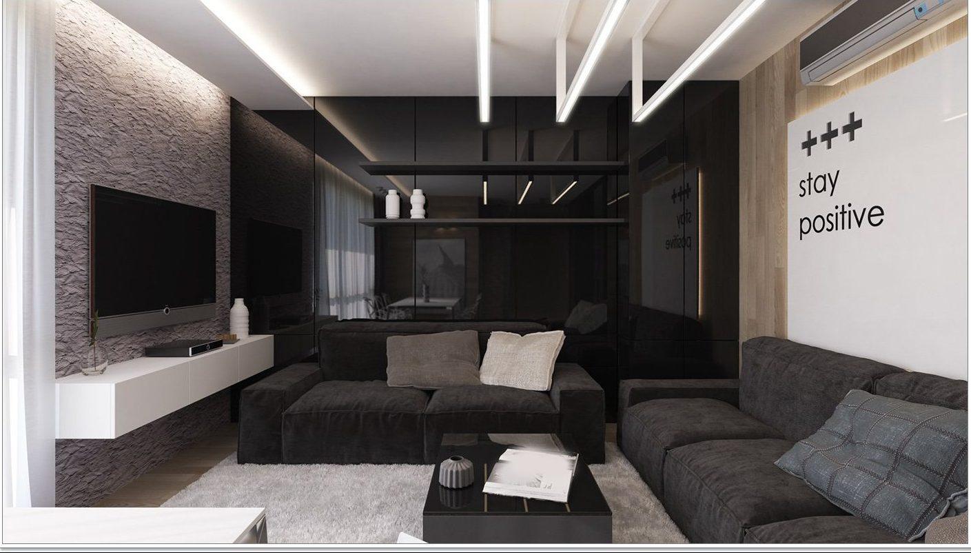 Tvådelad bekväm svart soffa