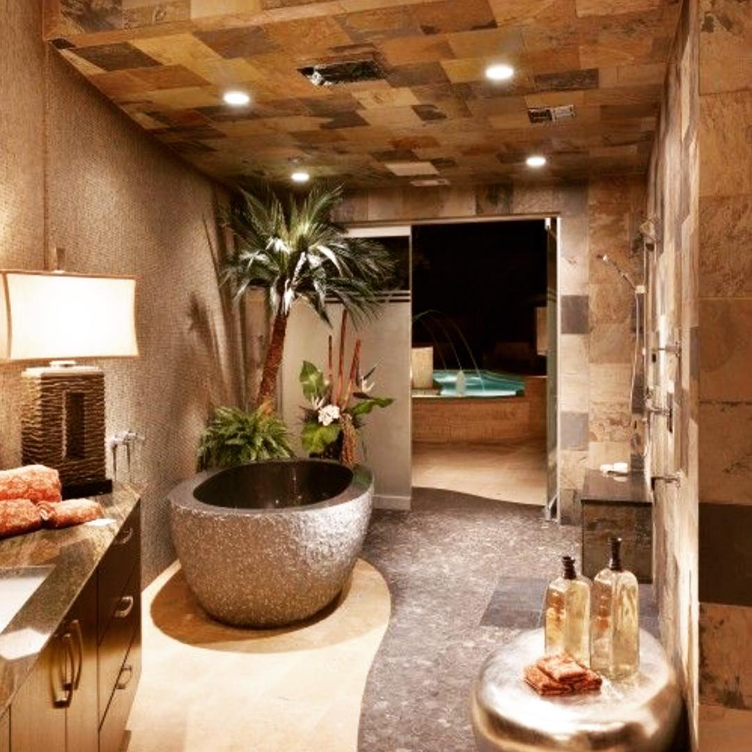 Kreativt brunt badrum