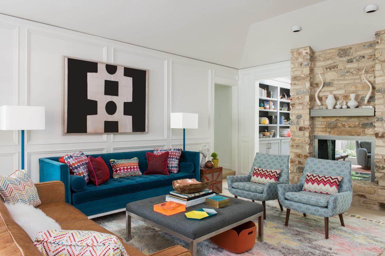 Fantastiskt, färgglatt vardagsrum