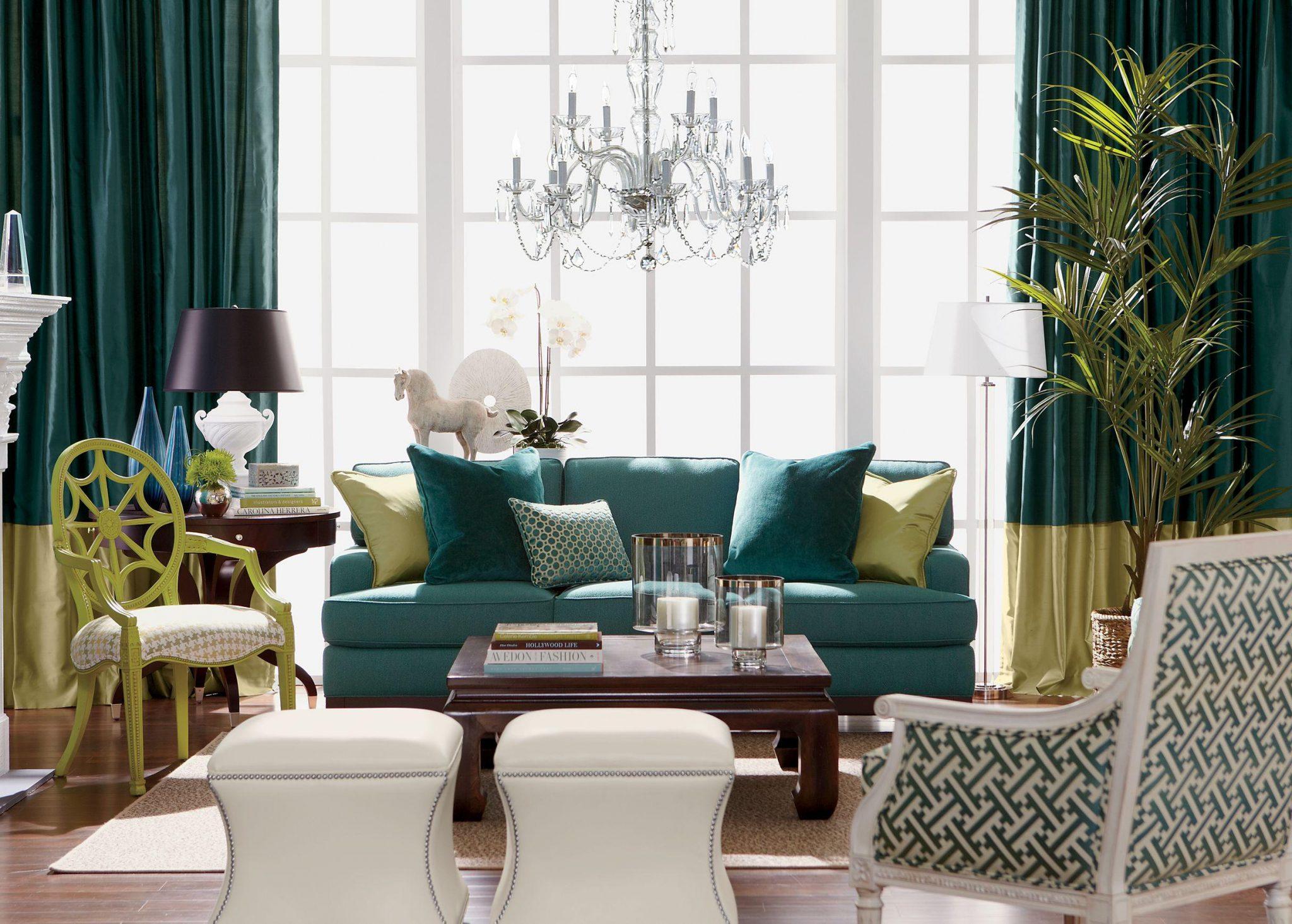 Magnifik blågrönt vardagsrum