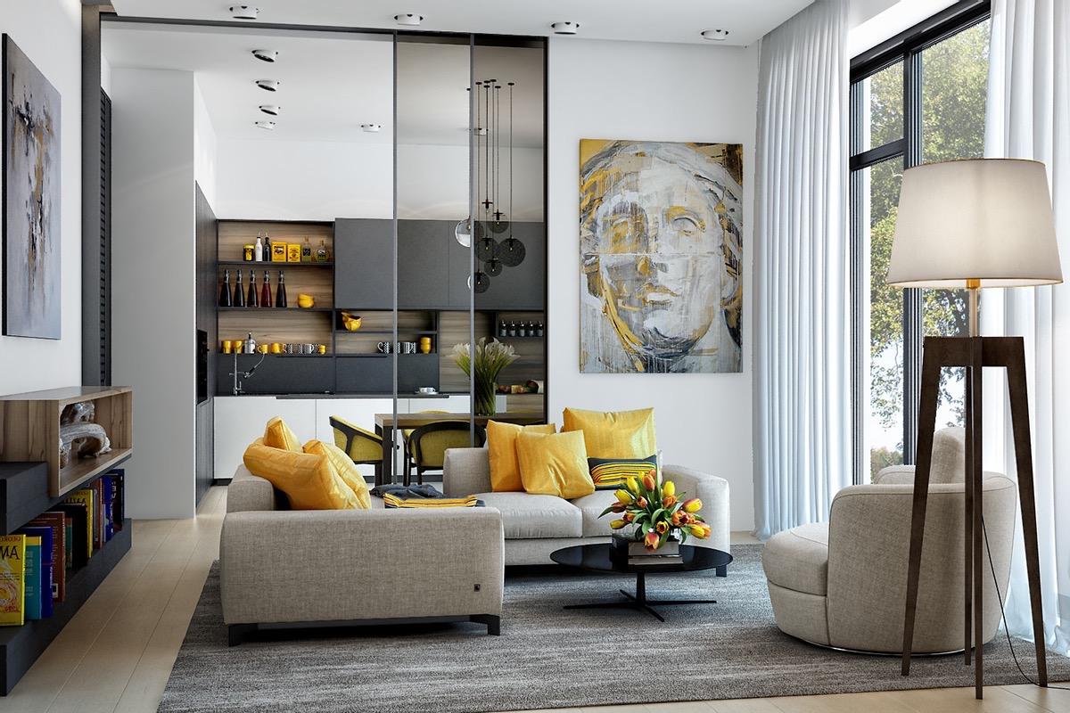 Fri känsla grå och gul vardagsrum