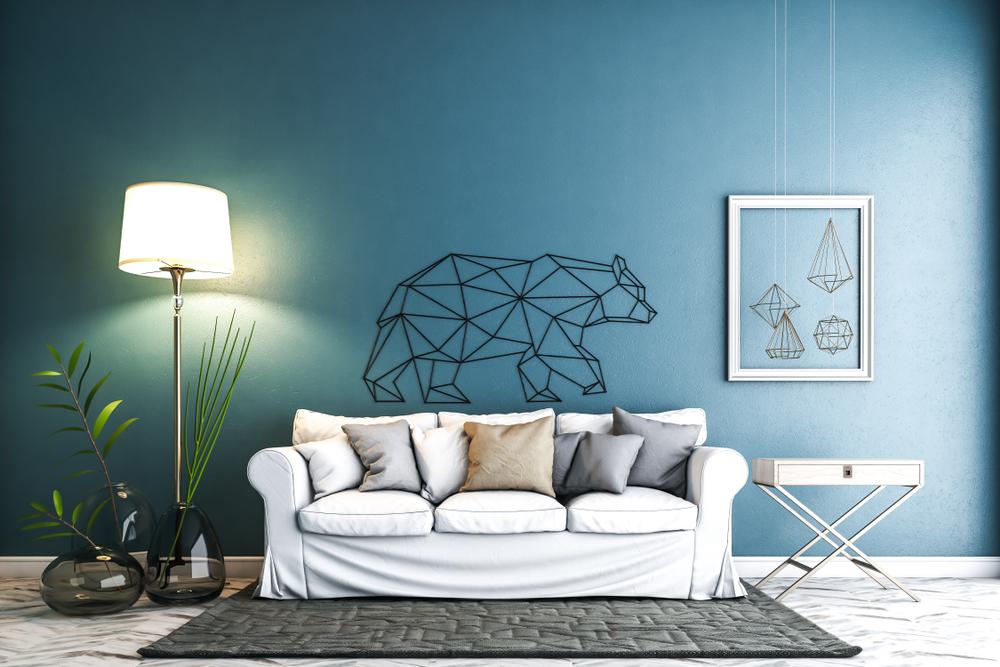 Samtida blå vardagsrum