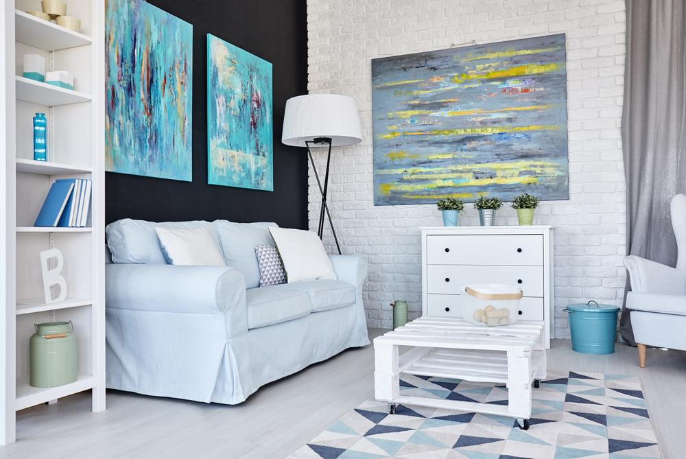 Super ljusblått vardagsrum