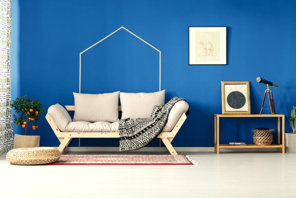 Snyggt blå vardagsrum