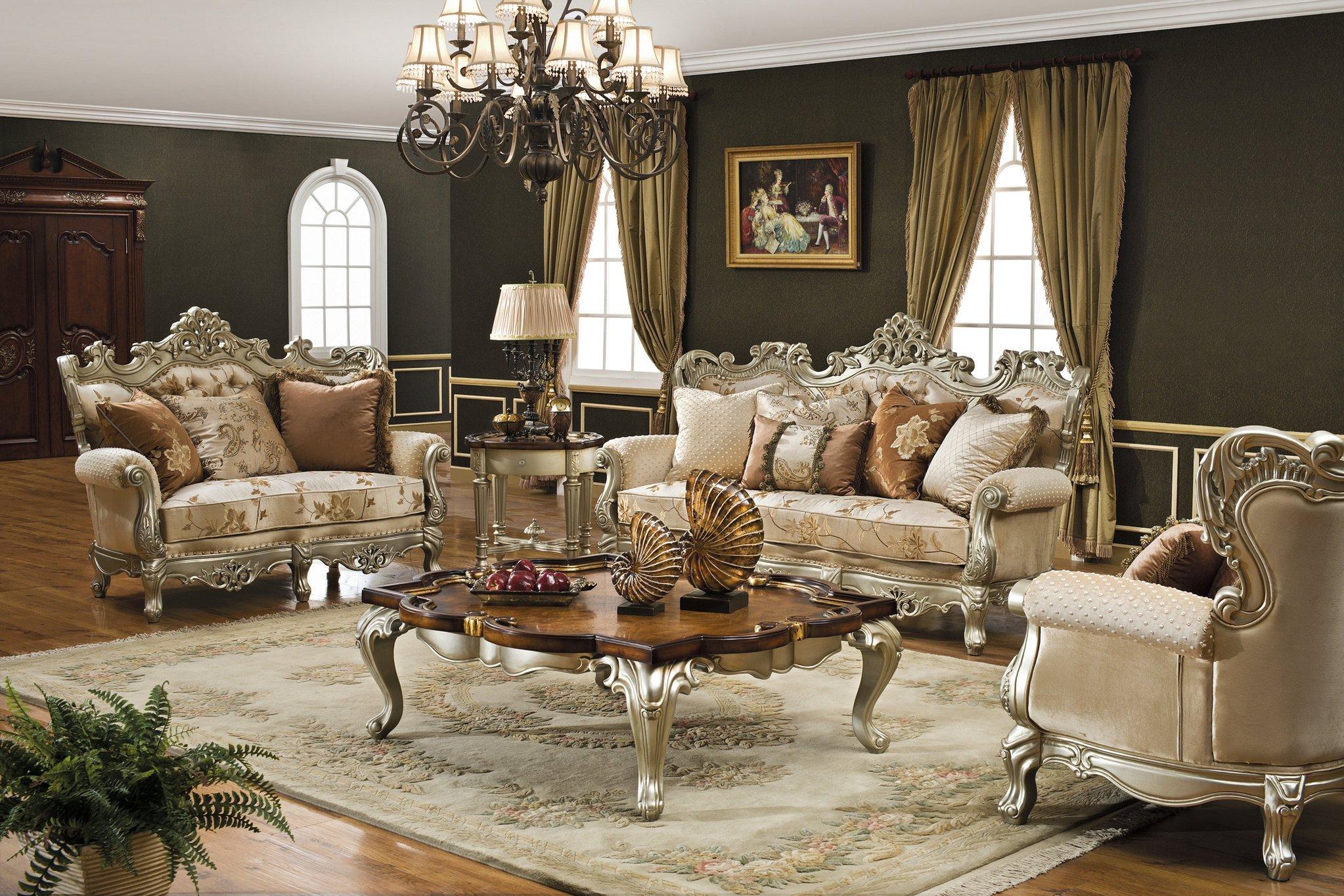Glamoröst och elegant vardagsrum