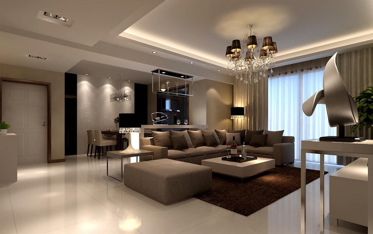 Minimalistiskt, elegant vardagsrum.