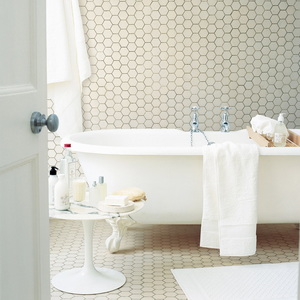 Hexagon badrumsgolv