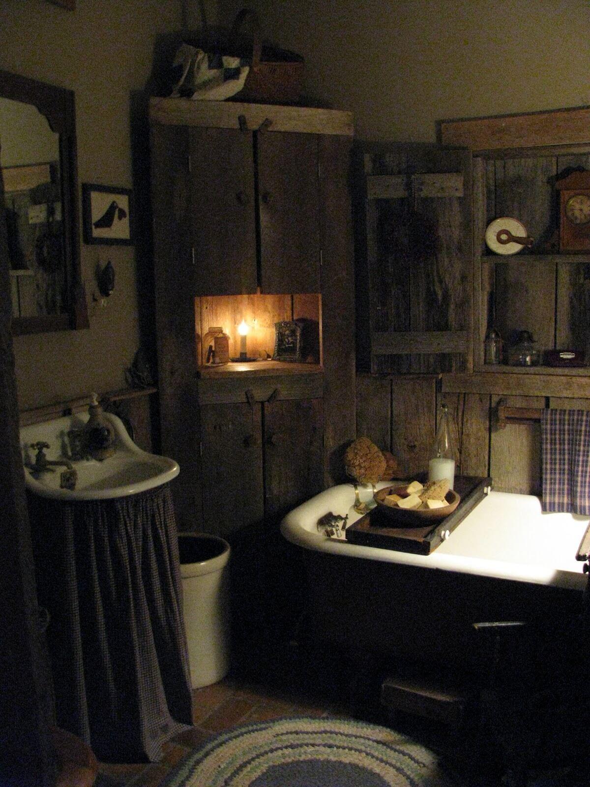 Gammalt primitivt badrum