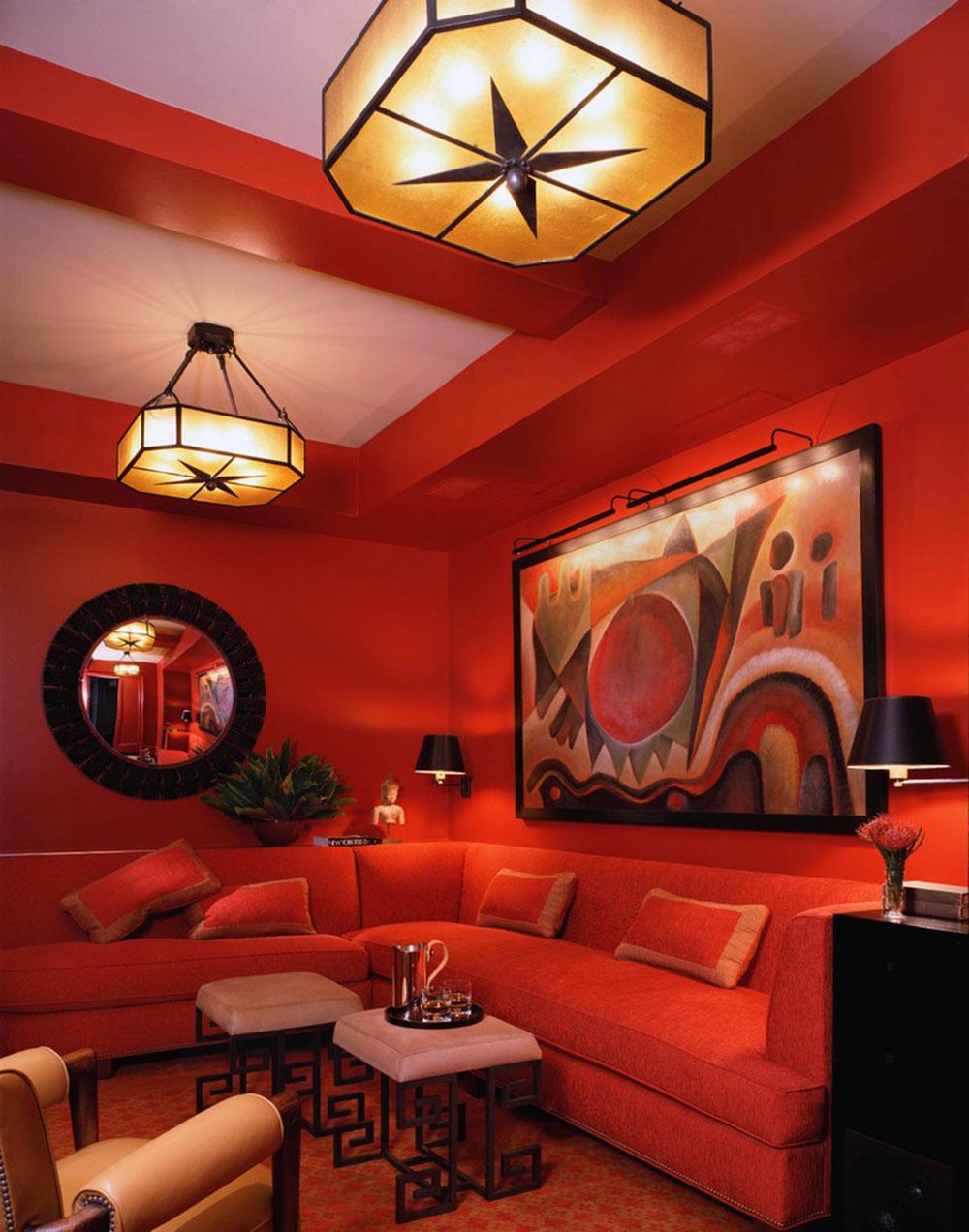 Nästan hela orange vardagsrum