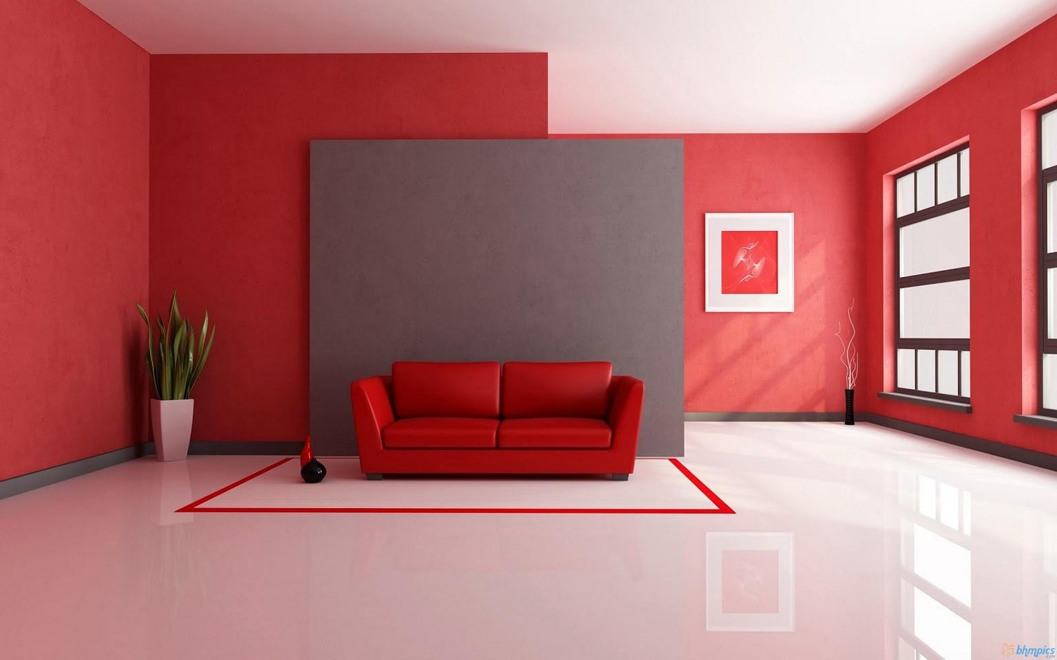 Röd lädersoffa i ett vardagsrum
