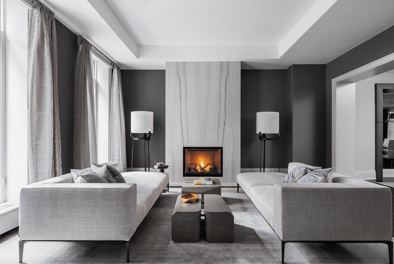 Modernt svart och grått vardagsrum