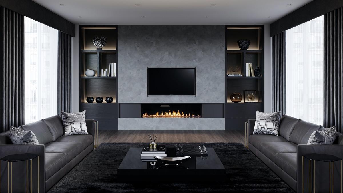 Modern spis i det svarta och gråa vardagsrummet