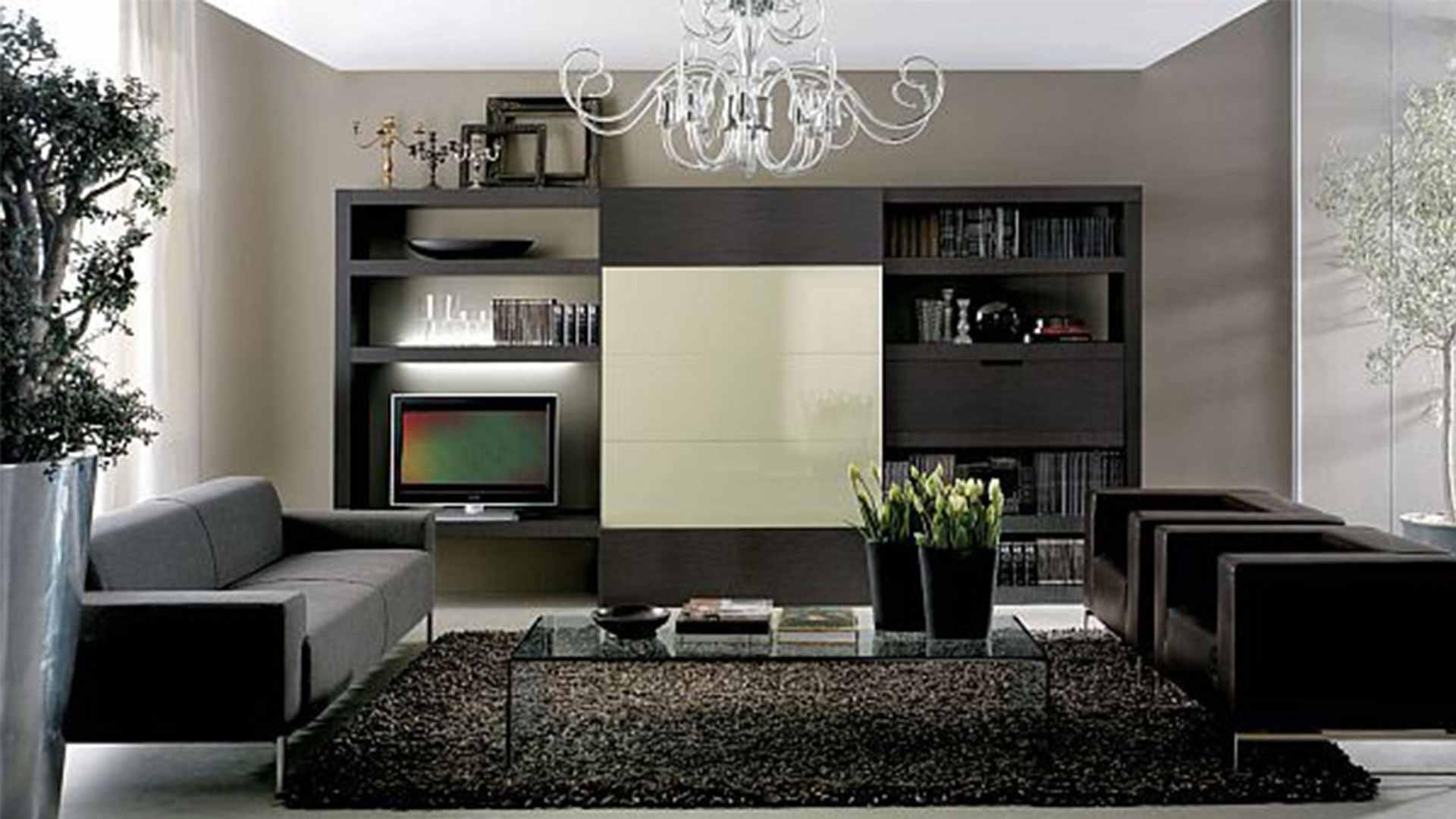 Attraktivt svart och grått vardagsrum