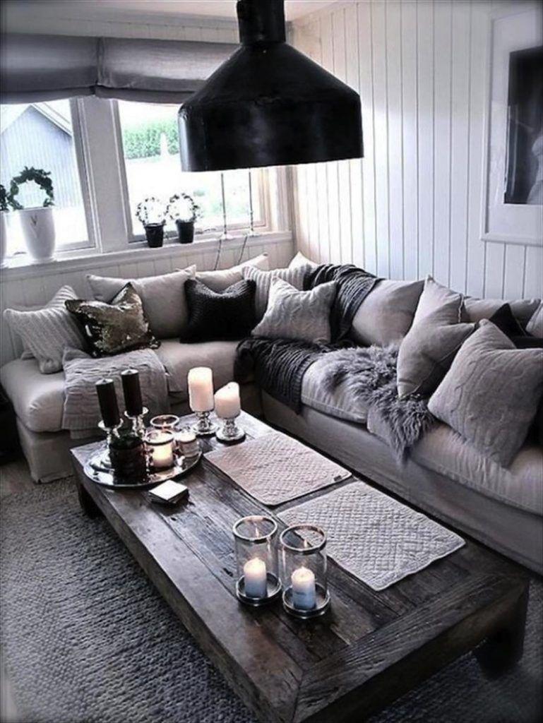 Fancy ett svart och grått vardagsrum