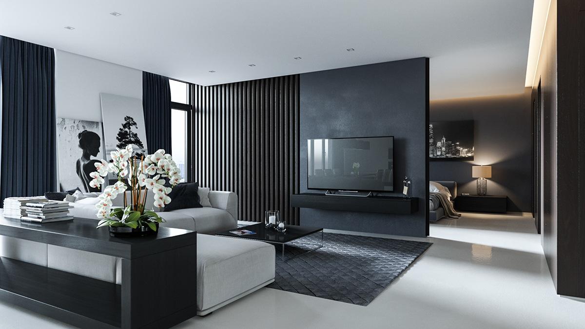 Enkelt svart och grått område i lägenheten