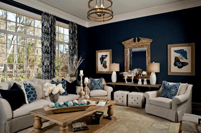 Glamblått och brunt vardagsrum