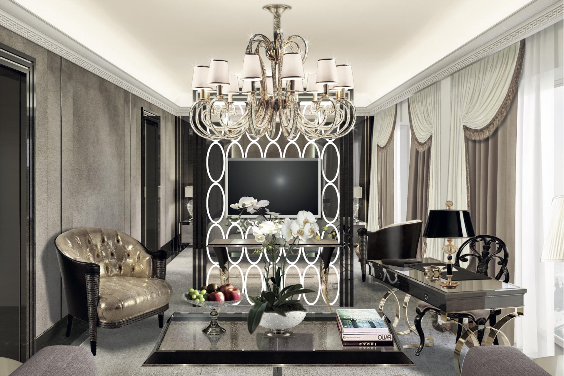Exklusivt glam vardagsrum