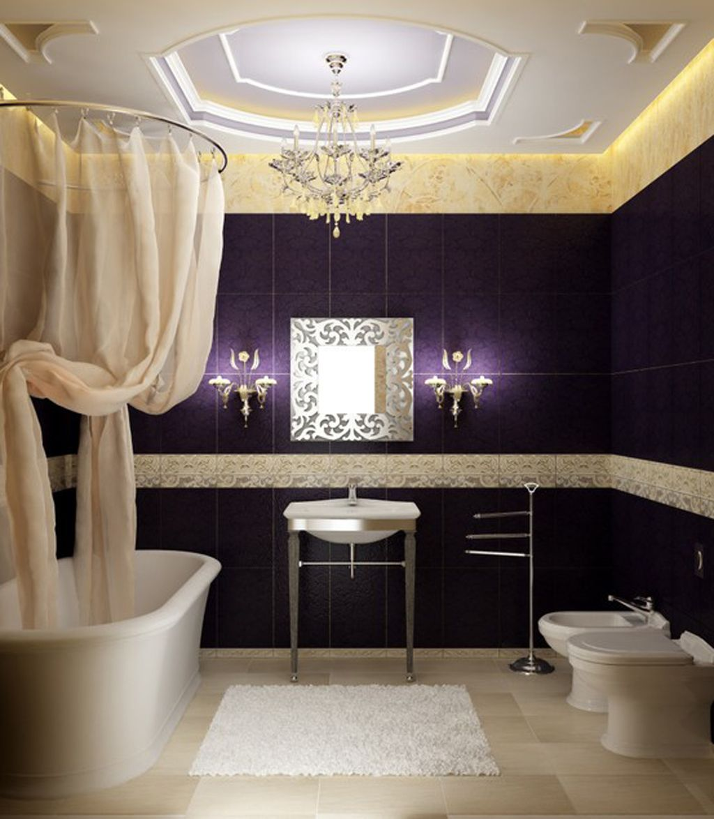 Prinsessaliknande lila badrum