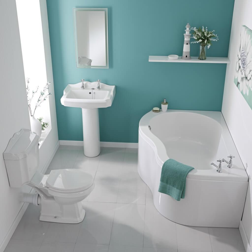 Lugnande blågrönt badrum