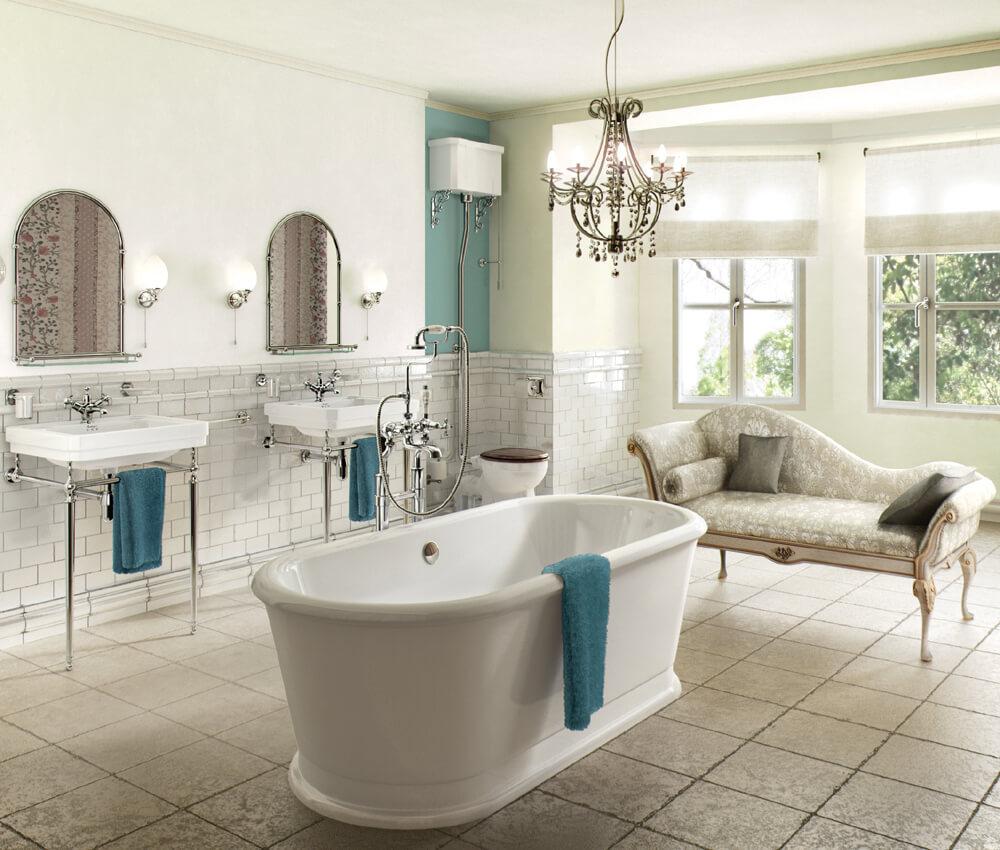 Avkopplande franska lantliga badrum