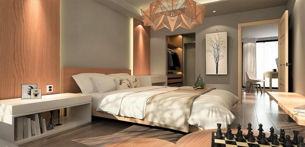 Manligt elegant sovrum