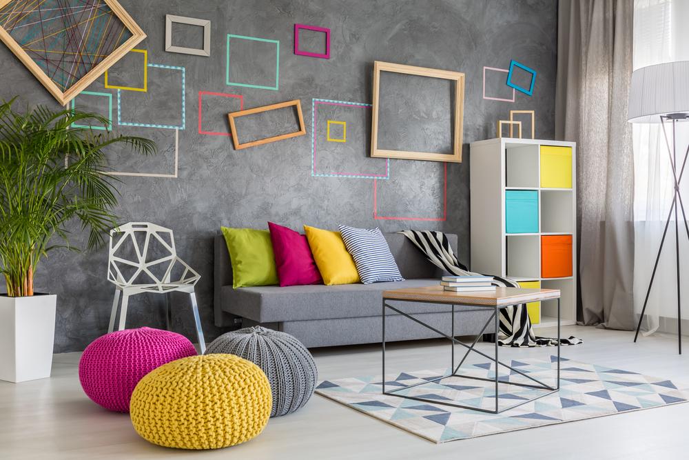 Innovativt, färgglatt vardagsrum