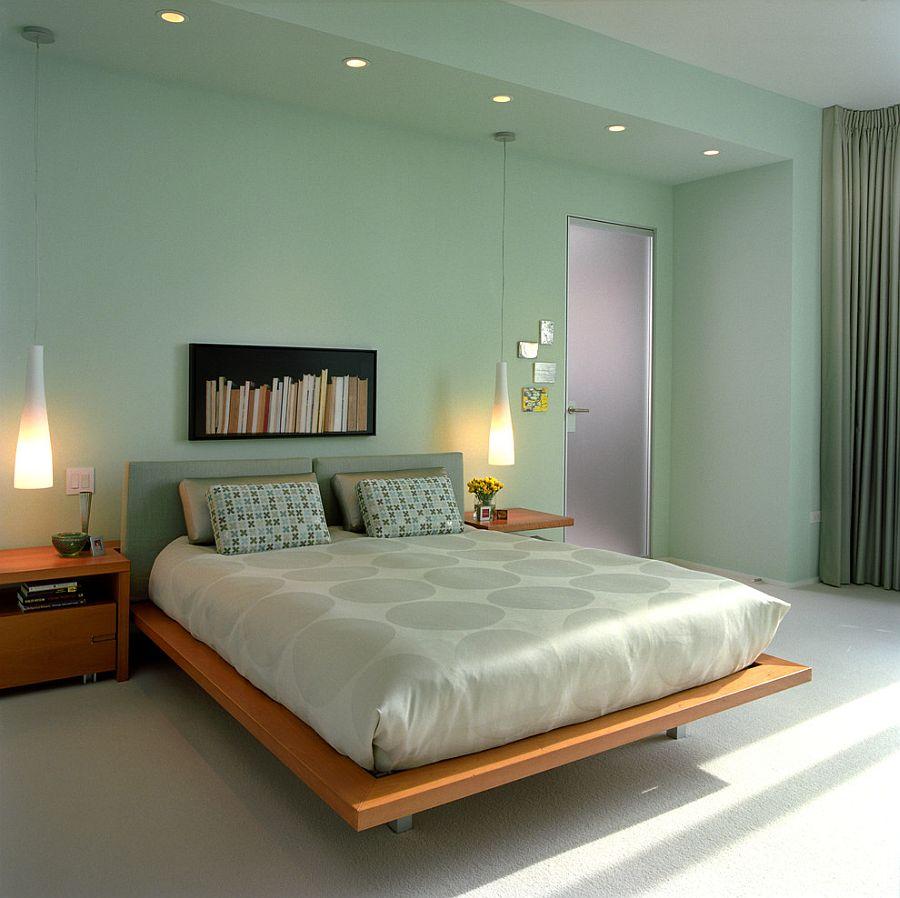 Grönt samtida sovrum