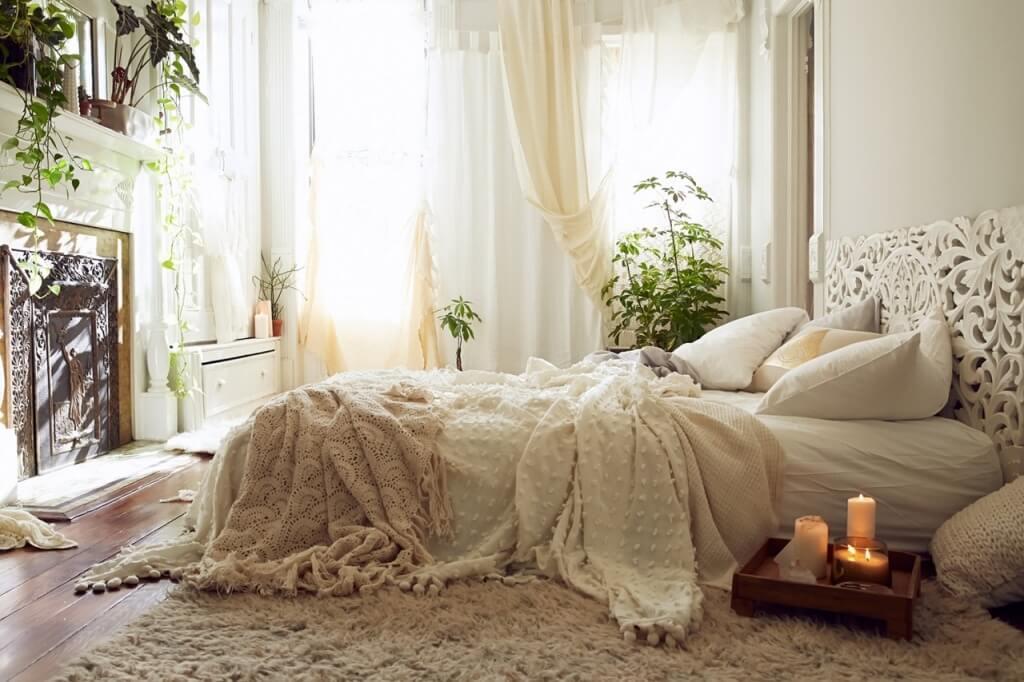 Bekvämt romantiskt sovrum