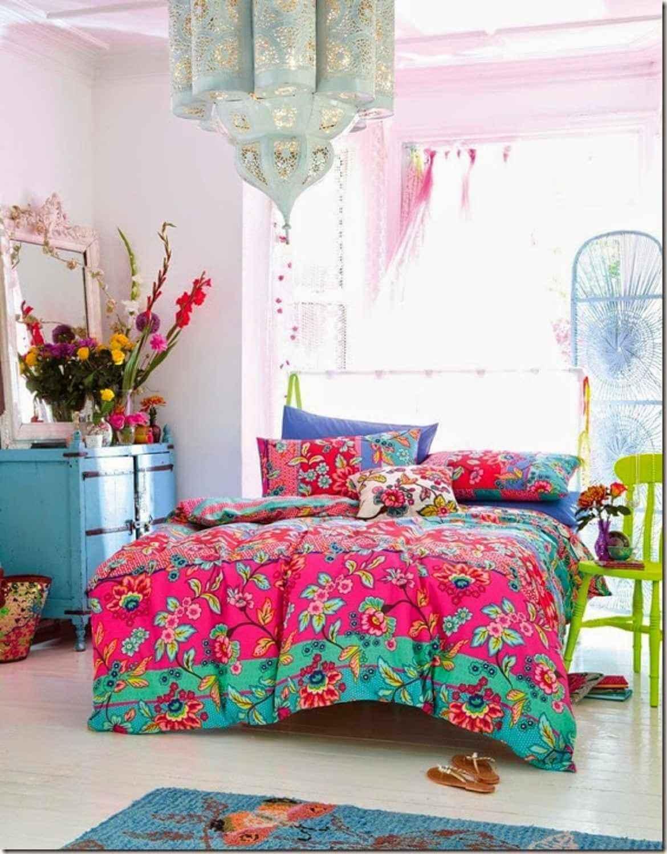 Fantastiskt färgglatt sovrum