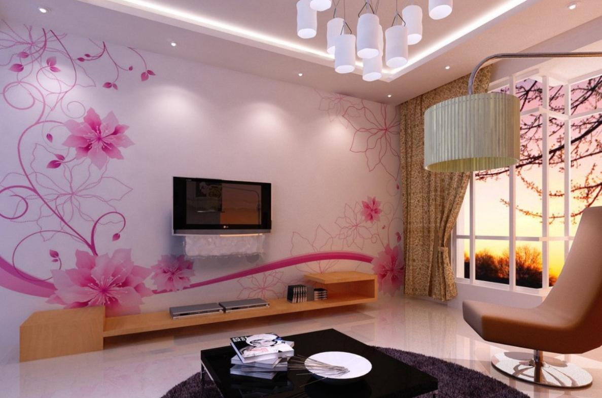 Blommatapet för ett vackert vardagsrum