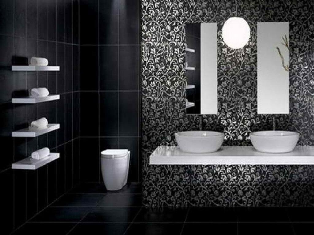 Minimalistiskt svart badrum