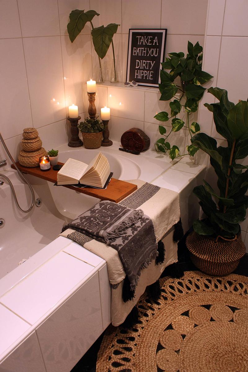 Trevligt boho badrum