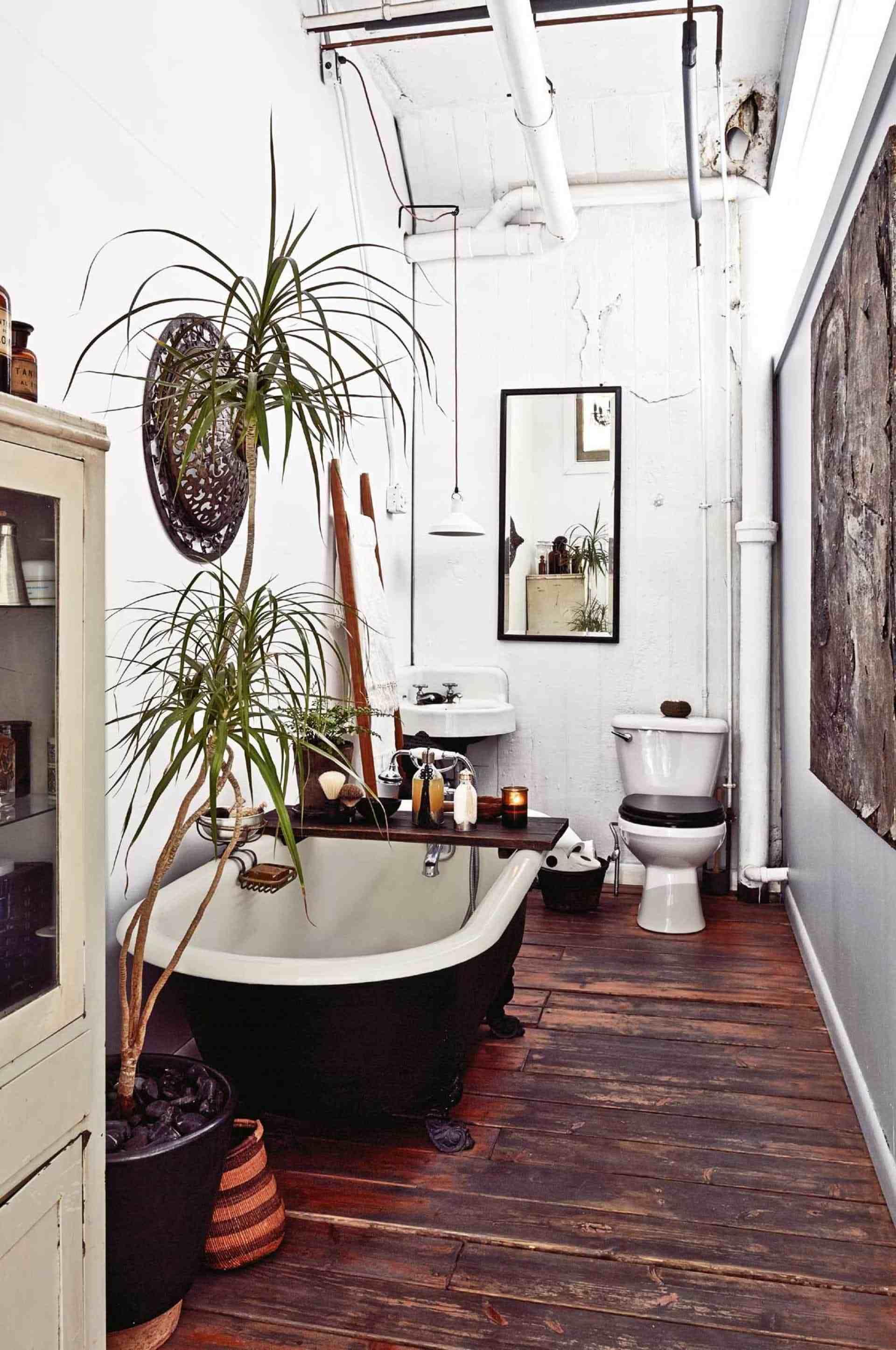 Klassiskt boho-badrum