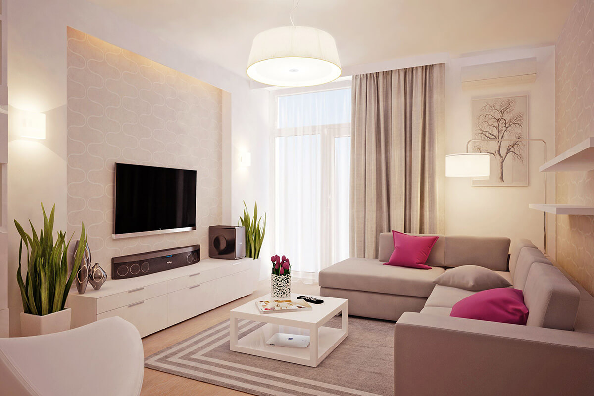 Minimalistiskt, friskt beige vardagsrum.  Källa: homebnc.com