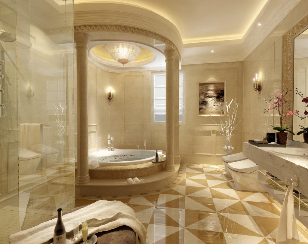 Utmärkt beige badrum