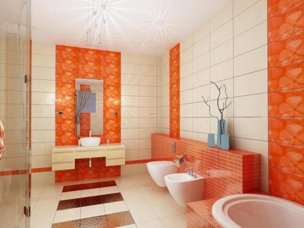 Härligt orange badrum