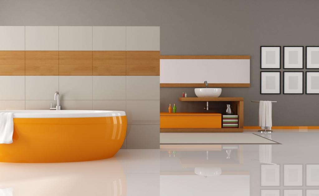 Minimalistiskt orange badrum