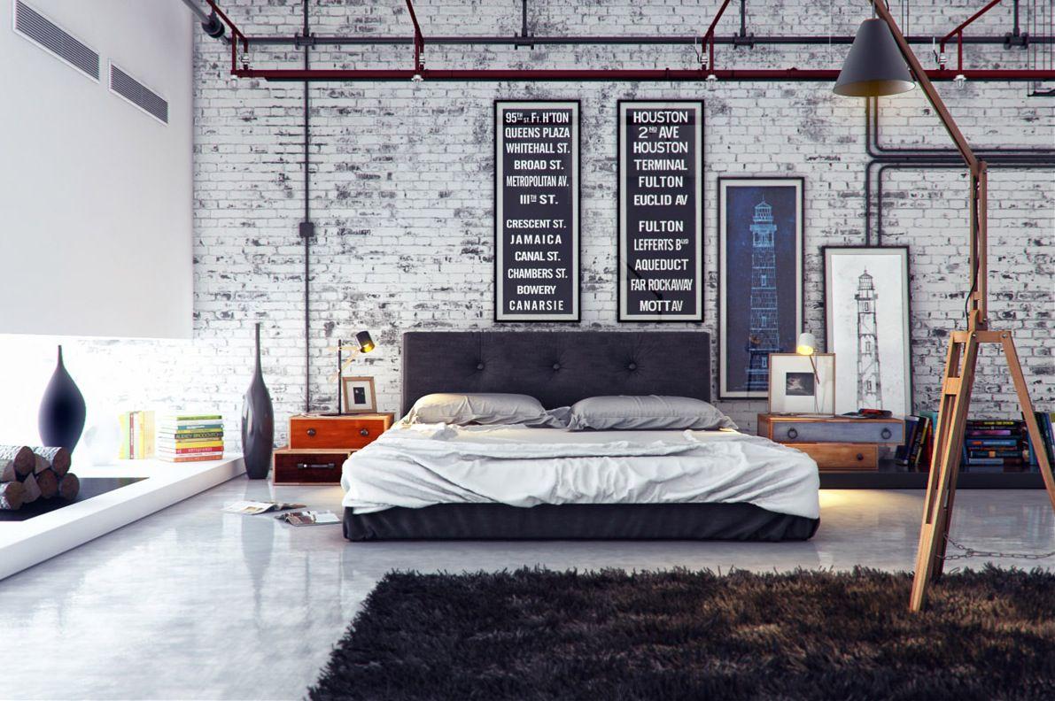 Gatu stil sovrum accent vägg