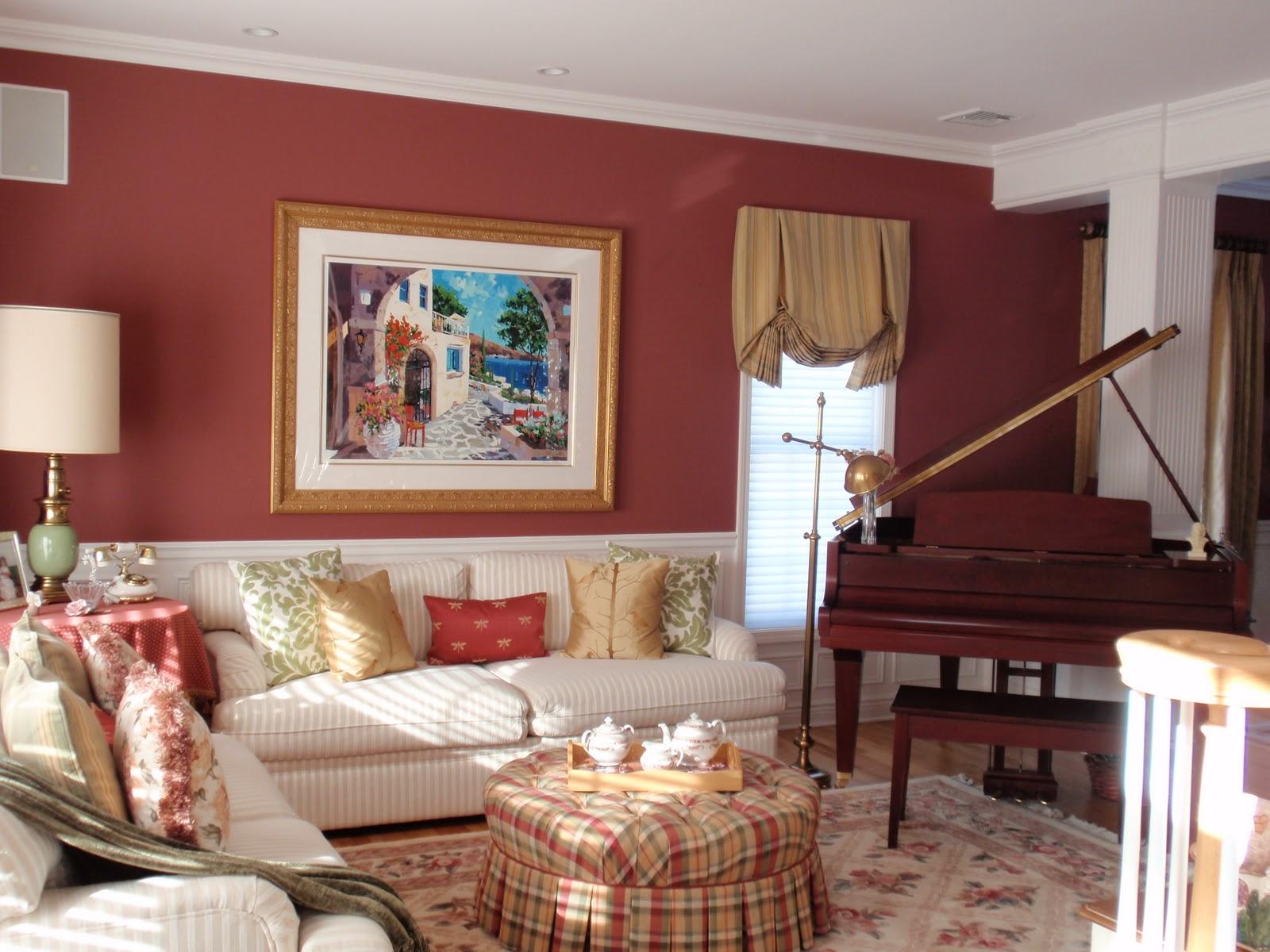 Tappningvardagsrum med randig sektionssektion.  Källa: PrinceGeorges.com
