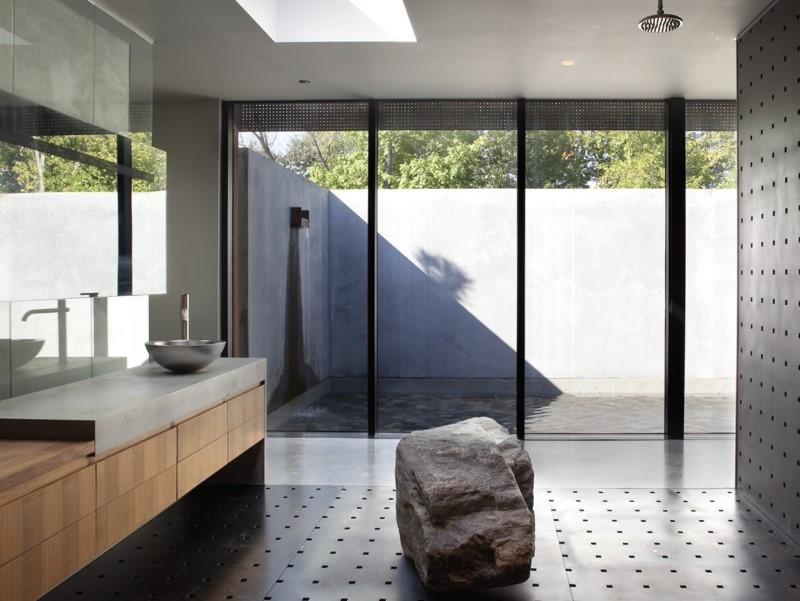 Stål projicerar rustika badrumsidéer