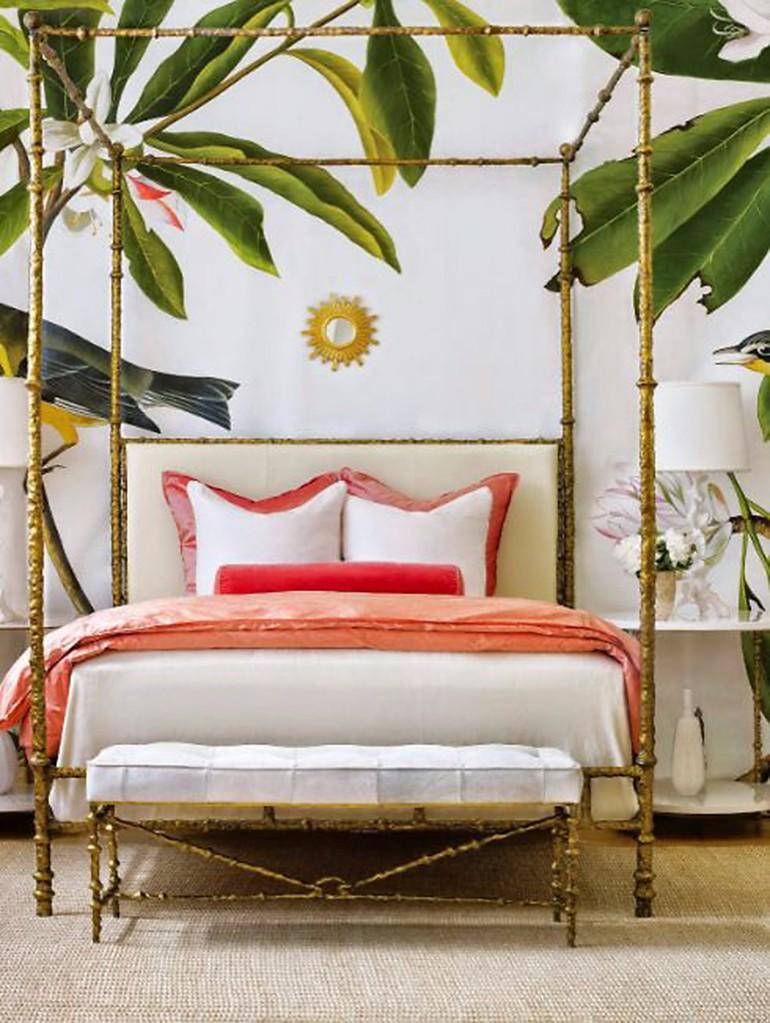 Trendigt tropiskt sovrum