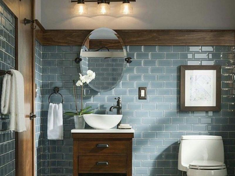 45 Blå badrumsidéer 2020 (olika uppfriskande mönster) 14