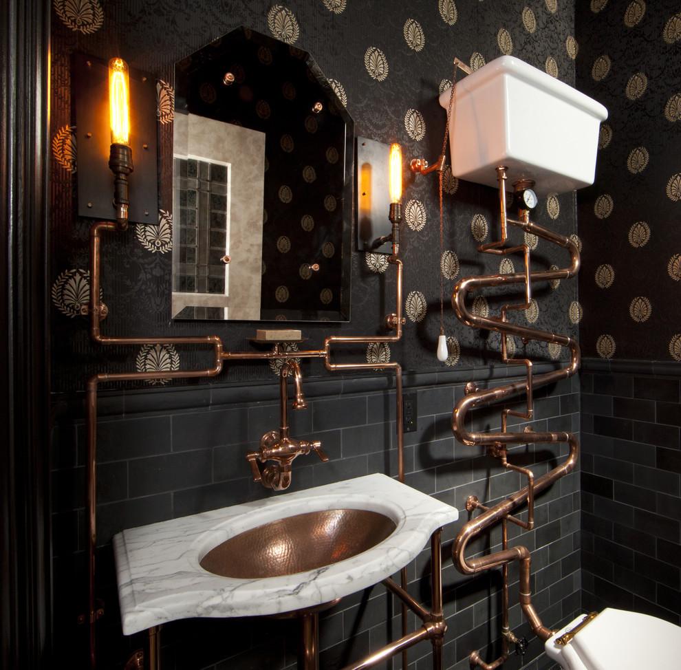 Spännande steampunk badrum