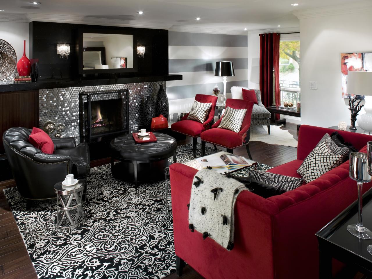 Nitar rött och svart vardagsrum