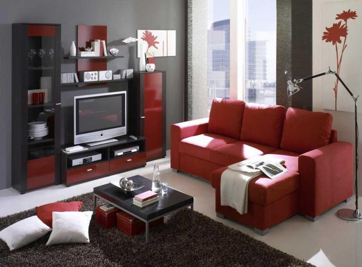 Coolt modernt vardagsrum i rött och svart