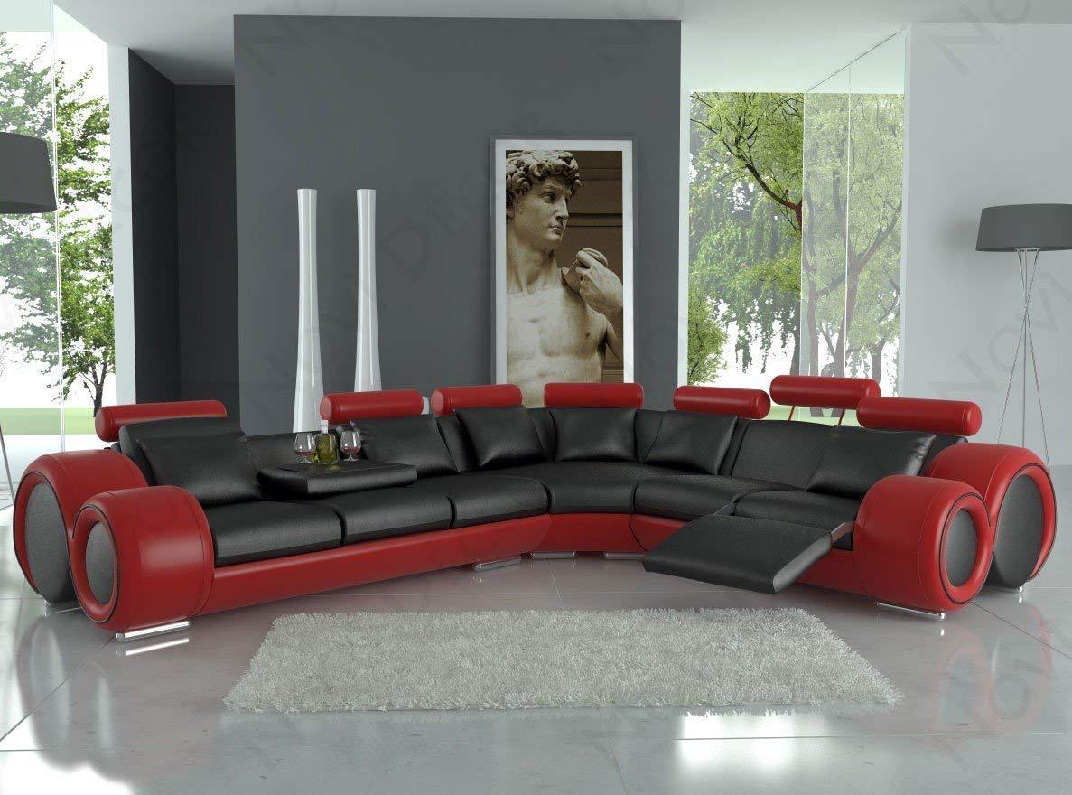 Out-of-the-box vardagsrum i rött och svart